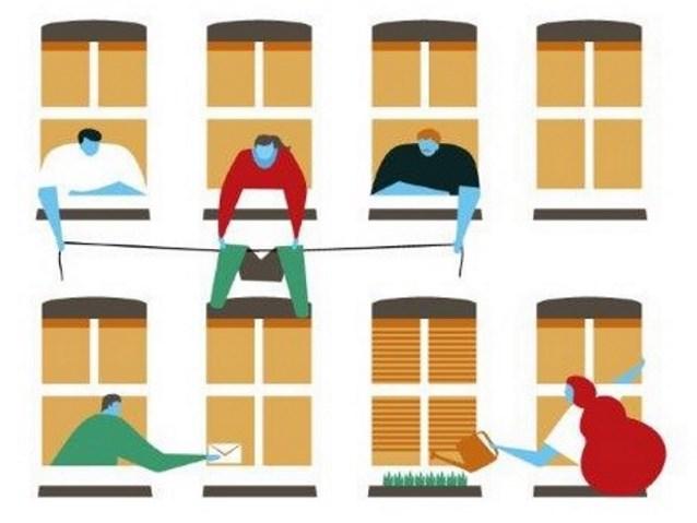 grafika przedstawiająca 8 okien, z niektórych wyglądają sąsiedzi, którzy pomagają rozwiesić pranie, podlewają kwiaty, dostarczają list