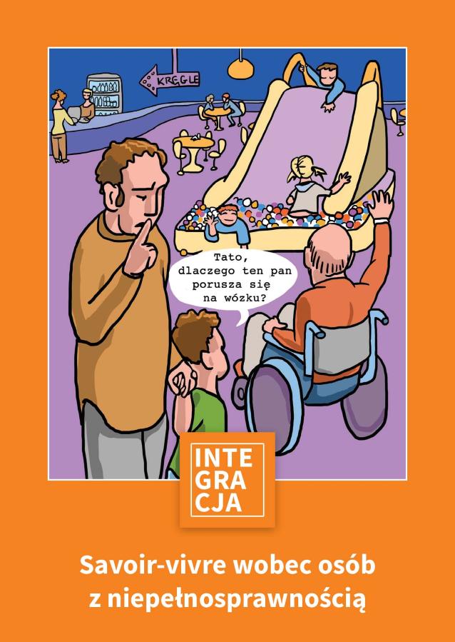 pomarańczowa okładka Savoir-vivre, na której dziecko pyta Tato, dlaczego ten pan porusza się na wózku?