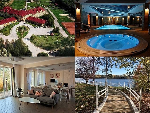 4 zdjęcia przedstawiające: budynek ośrodka wypoczynkowego, basen, salon oraz zejście nad wodę
