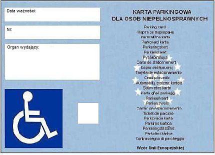 Awers karty parkigowej dla osoby prywatnej. Po lewej: miejsce na wpisanie: daty ważności, numeru, organu wydającego oraz symbol osoby na wózku. Po prawej: napis